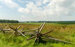 Rail Fence in Rural Farmland Royalty Free Stock Images
