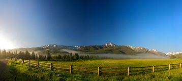 Rail Fence for Wyoming Ranch Royalty Free Stock Images