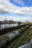 Rail freight. Freight Cars in a Train Yard. Lithuania Royalty Free Stock Image
