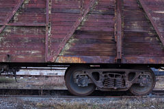 Rail freight car close-up. Rail rust freight car close-up Royalty Free Stock Photos