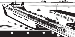 Rail freight wagons are loaded on ferry boat. Vector illustration Royalty Free Stock Photography