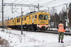 Rail-grinding train Stock Photos