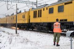 Rail-grinding train Royalty Free Stock Image