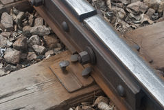 Rail. The joint of rail track Royalty Free Stock Photos