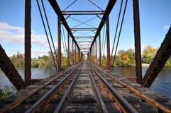 Rail Length Across The River On Steel Bridge Stock Image