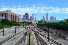 Rail line into the Chicago Loop. May be used as an editorial for the Chicago Loop or rail travel royalty free stock photo