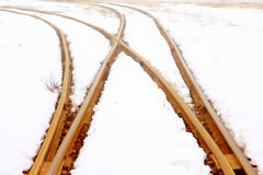 Rail line in snow Royalty Free Stock Photos