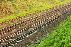 Rail lines in hollow Royalty Free Stock Image