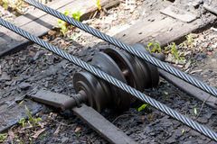 Rail mechanism screw Stock Photo