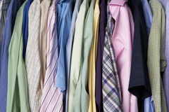 Rail of men's shirts Royalty Free Stock Photo