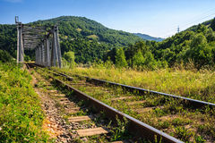 Rail Metal Bridge In Mountains Royalty Free Stock Photo