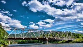 Rail metal bridge. Over mountain river stock footage