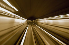 Rail. Motion to subway by night Royalty Free Stock Photography