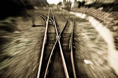 Rail. The moving staggered fuzzy Railway Royalty Free Stock Image