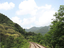 Rail Park with tree. This photo is shot in Korea Stock Photos