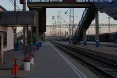 Rail platform morning stock photos