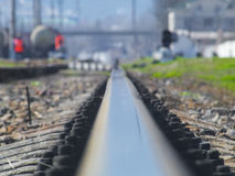 Rail of the railroad goes somewhere far away. The rail of the railroad goes somewhere far away Stock Photos