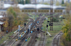 Rail road. Close-up of Rail road crossing Royalty Free Stock Images