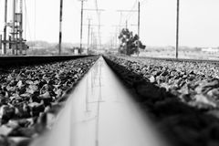 Rail road. Reflection in the rail road Stock Photography