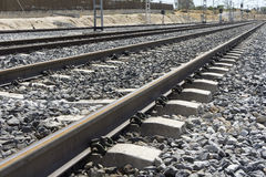Rail road. A low point of view of a rail road stock images