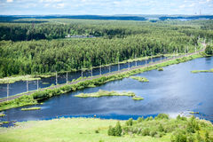 Rail road aerial view with evergreen woods and blue lakes Royalty Free Stock Photos