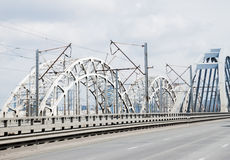 Rail and road bridge Royalty Free Stock Photography