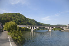 Rail road bridge in city Huy. Rail rodad bridge in city Huy, Wallonia, Belgium Stock Images
