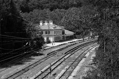 Rail road. Bulgaria koprivshtica black and white portrait train station Stock Photo