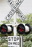 Rail road crossign sign and signals Stock Photos