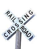 Rail road crossing sign isolated by clipping path. Isolated photo of a rail road crossing sign stock photography