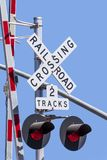 Rail road crossing sign stock photo