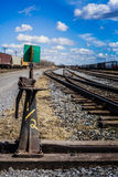 Rail road detail during a hot sping day in Farnam. Royalty Free Stock Photography