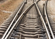 Rail road goes to different ways Stock Images
