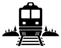 Rail road icon with moving train Royalty Free Stock Photography