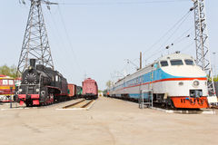 Rail road locomotive. Photo of Russian rail road locomotive in Samara Stock Image