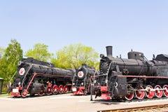 Rail road locomotive. Photo of Russian rail road locomotive in Samara royalty free stock photos