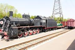 Rail road locomotive. Photo of Russian rail road locomotive in Samara stock photography