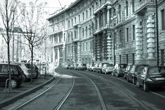 Rail road in Milan Stock Photography