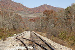Rail road through mountains Royalty Free Stock Photos