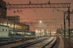 Rail road at night on Kazansky rail station in Moscow, Russia Stock Image