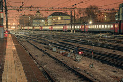 Rail road at night on Kazansky rail station in Moscow, Russia Royalty Free Stock Photo