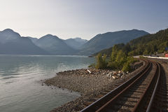 Rail road tracks. Leading to Whistler British Columbia Canada stock photos