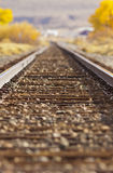 Rail Road Tracks. Shallow Depth of Field on rail road tracks vanishing with perspective stock images