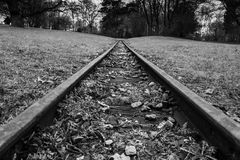 Rail Road Tracks Park Hills Landscape Forest Black White Monochr. Ome Emotional Goal Travel Moving Perspective Stock Photography