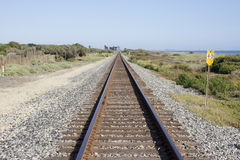 Rail Road Tracks Run Alongside the Pacific Ocean. In California, USA Stock Photography