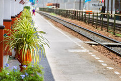 Rail Road Tracks in Thailand on background. Royalty Free Stock Photo