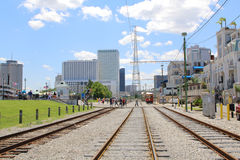 Rail road for Trolley streetcar in New Orleans, Louisiana. Next to mississippi river Royalty Free Stock Image