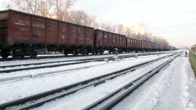 Rail road in winter city near business center. At winter stock video