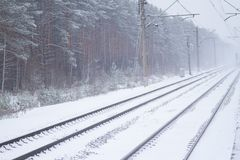 Rail road winter. Scary landscape with rail road in winter stock photography