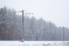 Rail road winter. Scary landscape with rail road in winter royalty free stock images